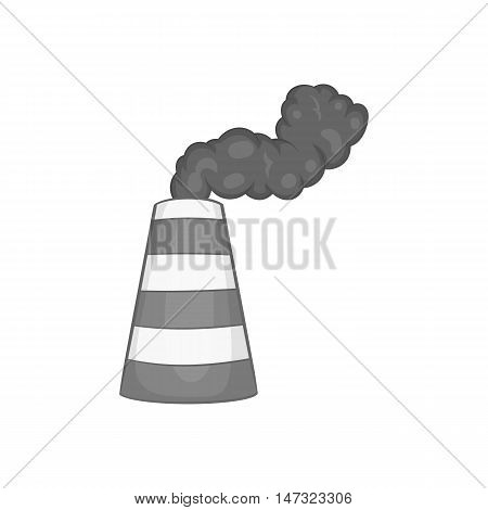 Industrial smoke from chimney icon in black monochrome style on a white background vector illustration