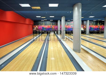 PENZA RUSSIA - AUGUST 30 2016: Interior of the bowling club. Tracks for the game