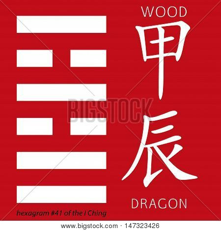 Symbol of i ching hexagram from chinese hieroglyphs. Translation of 12 zodiac feng shui signs hieroglyphs- wood and dragon.