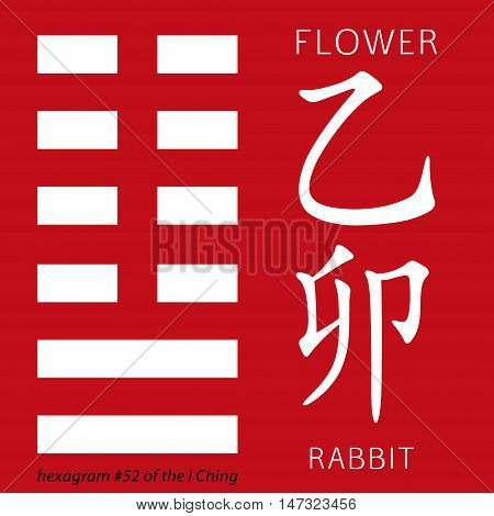 Symbol of i ching hexagram from chinese hieroglyphs. Translation of 12 zodiac feng shui signs hieroglyphs- flower and rabbit.