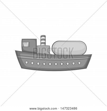 Oil tanker icon in black monochrome style on a white background vector illustration
