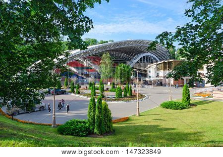 VITEBSK BELARUS - JULY 13 2016: Unidentified people are on territory of Summer Amphitheatre which is main scenic platform for traditional and popular annual music festival Slavic Bazaar