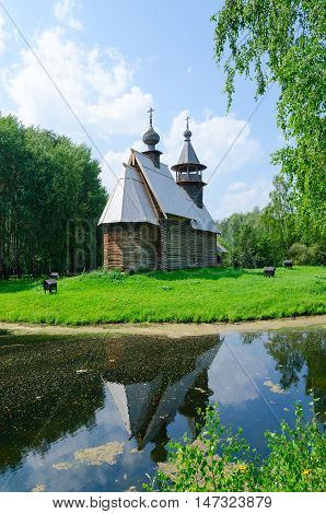 KOSTROMA RUSSIA - JULY 20 2016: Kostroma Architectural-Ethnographic and Landscape Museum-Reserve Kostromskaya Sloboda. Church of Savior from village Fominskoe of Kostroma region