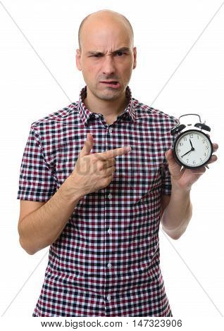 Angry Bald Man Pointing To Alarm Clock