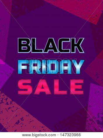 Black Friday Super sale Concept. Big Discount offer promotion. Design element of season hot deal campaign banner. Neonlight letters. Background for advertisement banner. Vector illustration
