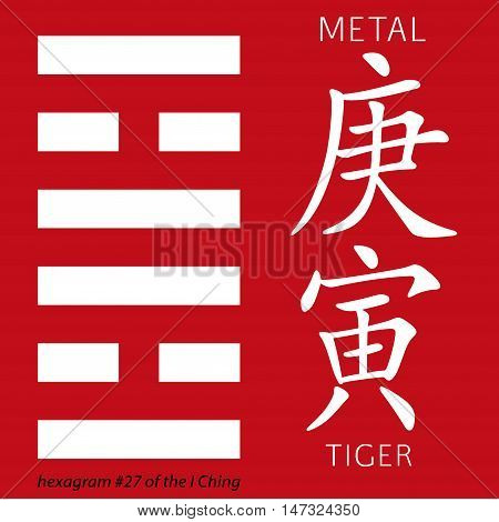 Symbol of i ching hexagram from chinese hieroglyphs. Translation of 12 zodiac feng shui signs hieroglyphs- metal and tiger.