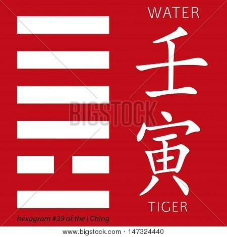 Symbol of i ching hexagram from chinese hieroglyphs. Translation of 12 zodiac feng shui signs hieroglyphs- water and tiger.