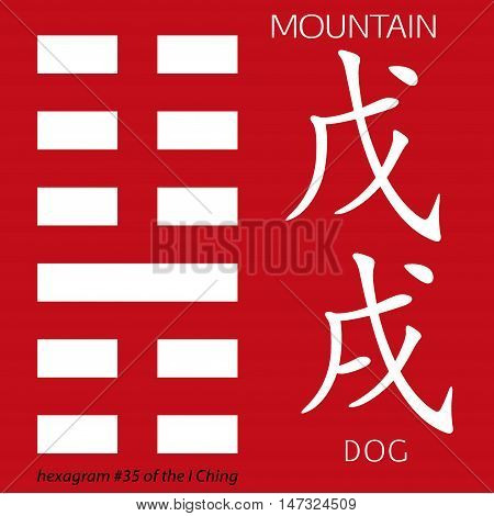 Symbol of i ching hexagram from chinese hieroglyphs. Translation of 12 zodiac feng shui signs hieroglyphs- mountain and dog.