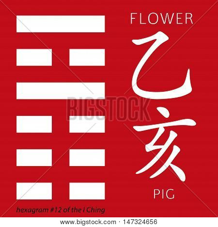 Symbol of i ching hexagram from chinese hieroglyphs. Translation of 12 zodiac feng shui signs hieroglyphs- flower and pig.
