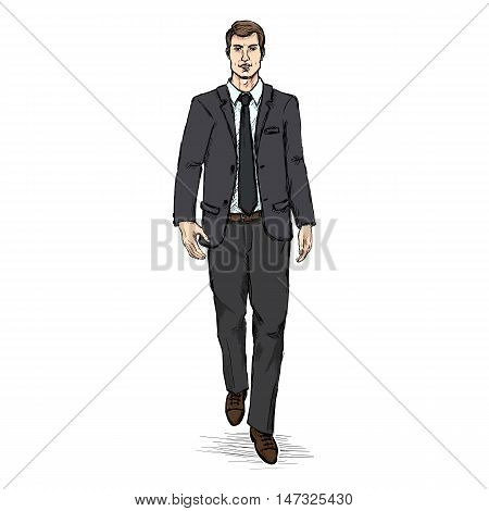 Vector Sketch Men Model In Black Suit. Business Dress Code.