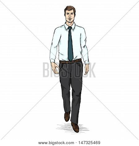 Vector Sketch Men Model In White Shirt And Blue Tie. Business Dress Code.