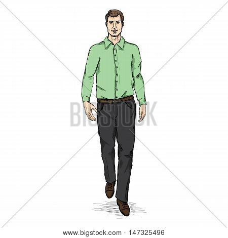 Vector Sketch Men Model In Green Long Sleeve Shirt And Black Trousers. Business Dress Code.
