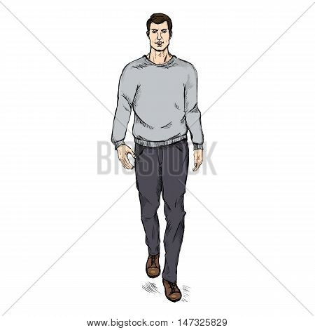 Vector Sketch Fashion Male Model In Trousers And  Gray Sweatshirt