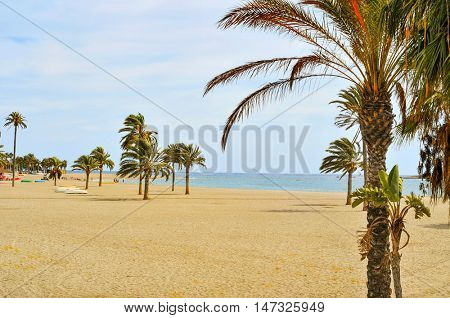 a view of the main beach of Carboneras in the Cabo de Gata-Nijar Natural Park, in the Province of Almeria, in Spain