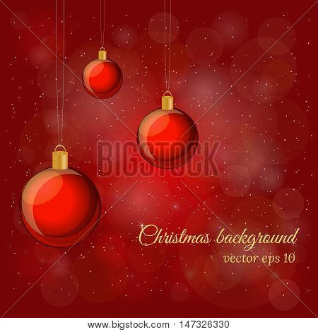 Magic Christmas and New Year background with glossy balls in red colors.