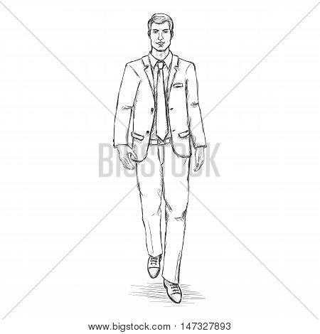 Vector Sketch Men Model In Suit. Business Dress Code.
