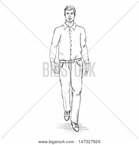 Vector Sketch Men Model In Shirt And Trousers.business Dress Code.