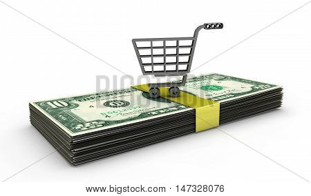A shopping cart filled with american dollars - 3d render
