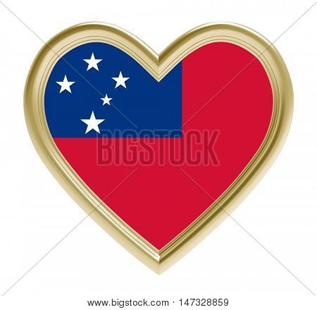 Samoa flag in golden heart isolated on white background. 3D illustration.