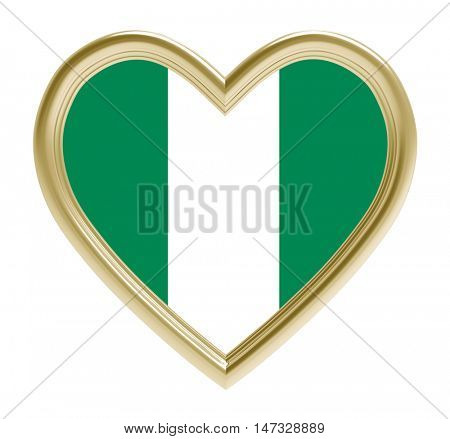 Nigeria flag in golden heart isolated on white background. 3D illustration.