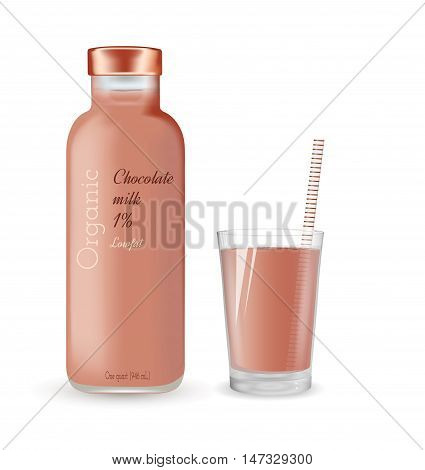 Glass bottle with chocolate milk. Organic product