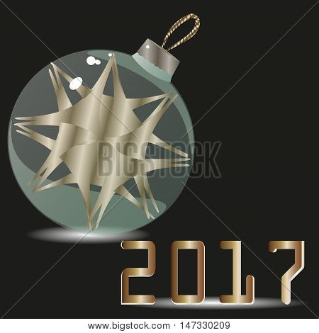 Congratulation of  2017 and green new year ball Postcard design with holiday new year painted - green glass Christmas ball ornament object inside the text Stock vector illustration