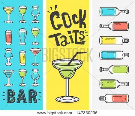 Vector illustration. Restaurant menu design. set of bottles and glasses with alcohol
