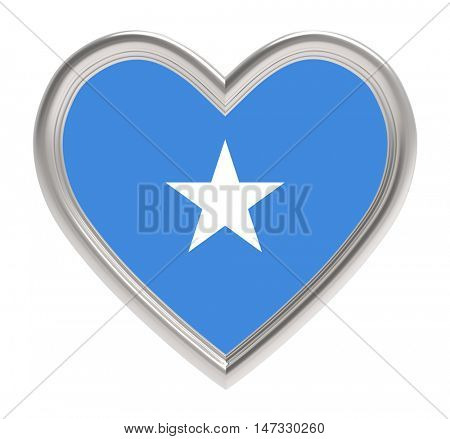Somalia flag in silver heart isolated on white background. 3D illustration.