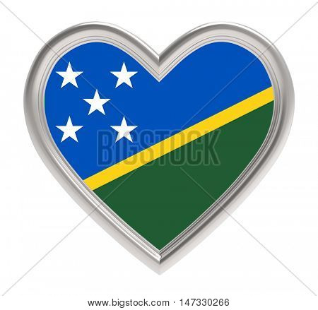 Solomon Islands flag in silver heart isolated on white background. 3D illustration.