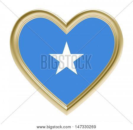 Somalia flag in golden heart isolated on white background. 3D illustration.