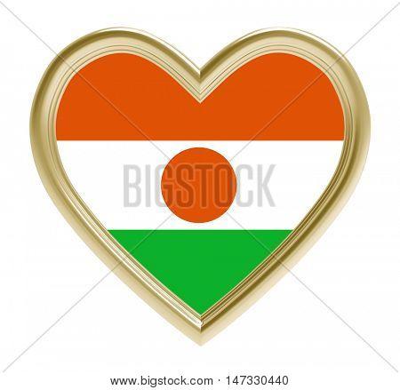 Niger flag in golden heart isolated on white background. 3D illustration.