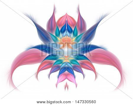 Abstract exotic flower on white background. Symmetrical pattern in pastel pink blue and orange colors. Fantasy fractal design for posters wallpapers or t-shirts. Digital art. 3D rendering.
