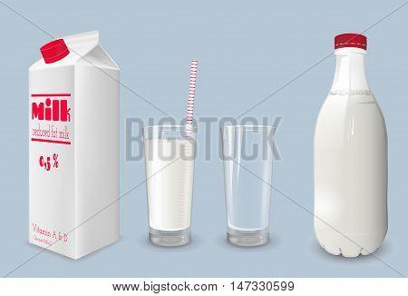Milk carton and glass of milk. Reduced fat milk.