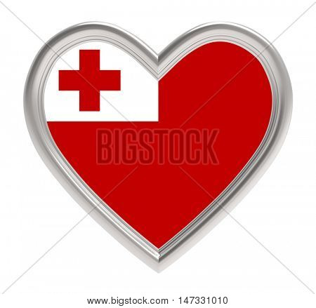 Tonga flag in silver heart isolated on white background. 3D illustration.