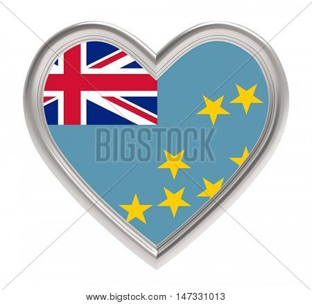 Tuvalu flag in silver heart isolated on white background. 3D illustration.