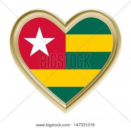 Togo flag in golden heart isolated on white background. 3D illustration.