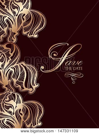 invitation of interwoven leaves flowers and ribbons with the words save the date artnuvo style