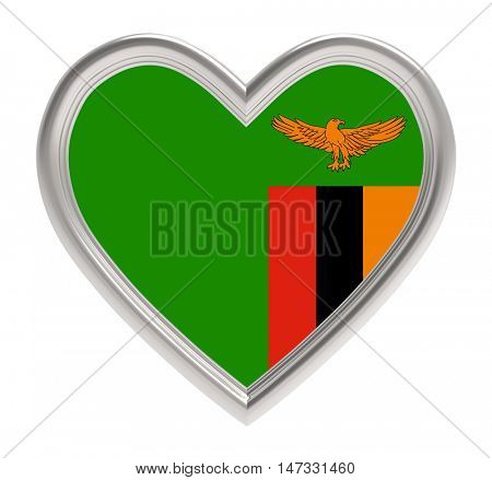 Zambia flag in silver heart isolated on white background. 3D illustration.