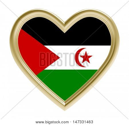 Western Sahara flag in golden heart isolated on white background. 3D illustration.