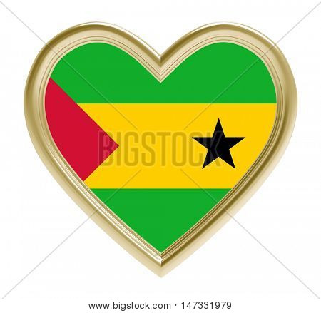 Sao Tome and Principe flag in golden heart isolated on white background. 3D illustration.