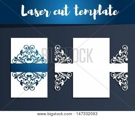 Laser Cut Template For Wedding Invitation, Birthday Greeting Card Or Restaurant Menu. Openwork Silho