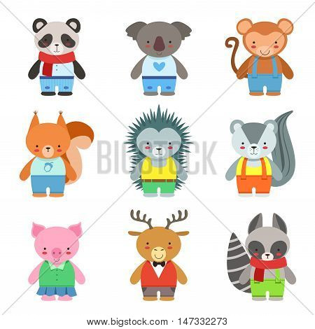 Toy Animals Dressed Like Kids Characters Set. Cute Cartoon Childish Style Illustrations Isolated On White Background.