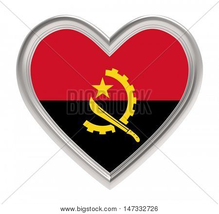 Angola flag in silver heart isolated on white background. 3D illustration.