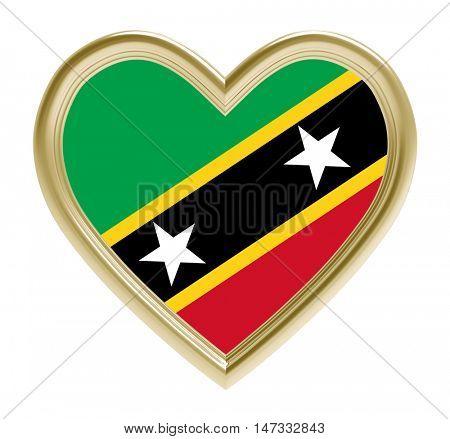 Saint Kitts and Nevis flag in golden heart isolated on white background. 3D illustration.