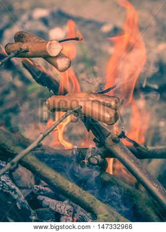 Frankfurters fried over open fire at a camping site in a wild
