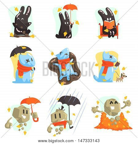 Monsters Walking Outdoors In Autumn. Funky Creatures Colorful Characters With Seasonal Atributes On White Background.