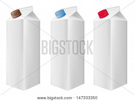 Blank white carton boxes packages. Cartons with screw cap. Multicolored caps.