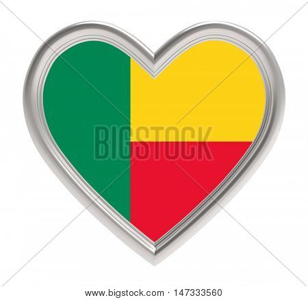 Benin flag in silver heart isolated on white background. 3D illustration.