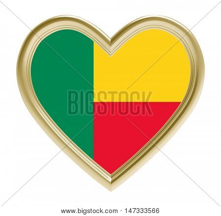 Benin flag in golden heart isolated on white background. 3D illustration.