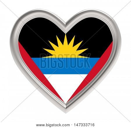 Antigua and Barbuda flag in silver heart isolated on white background. 3D illustration.
